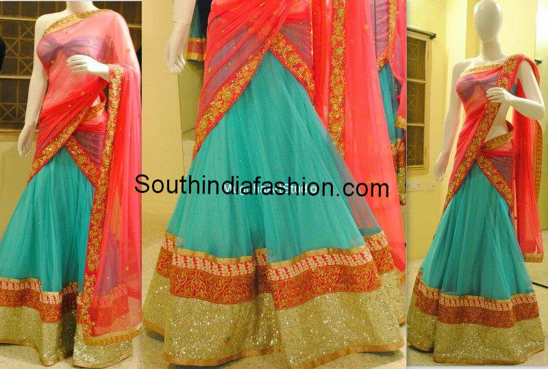 pastel blue half saree