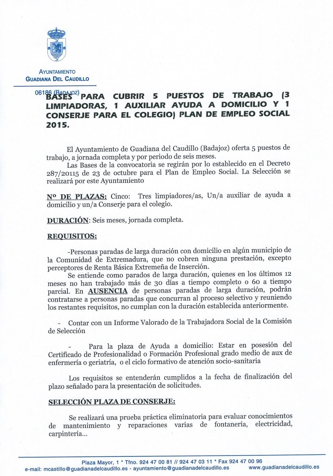 BASES PARA CUBRIR 5 PUESTOS DE TRABAJO (3 LIMPIADORAS, 1 AUXILIAR DE ...