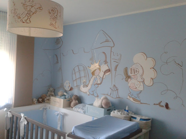 Deco chambre b b peinture murale chambre enfant prince for Decoration murale chambre bebe