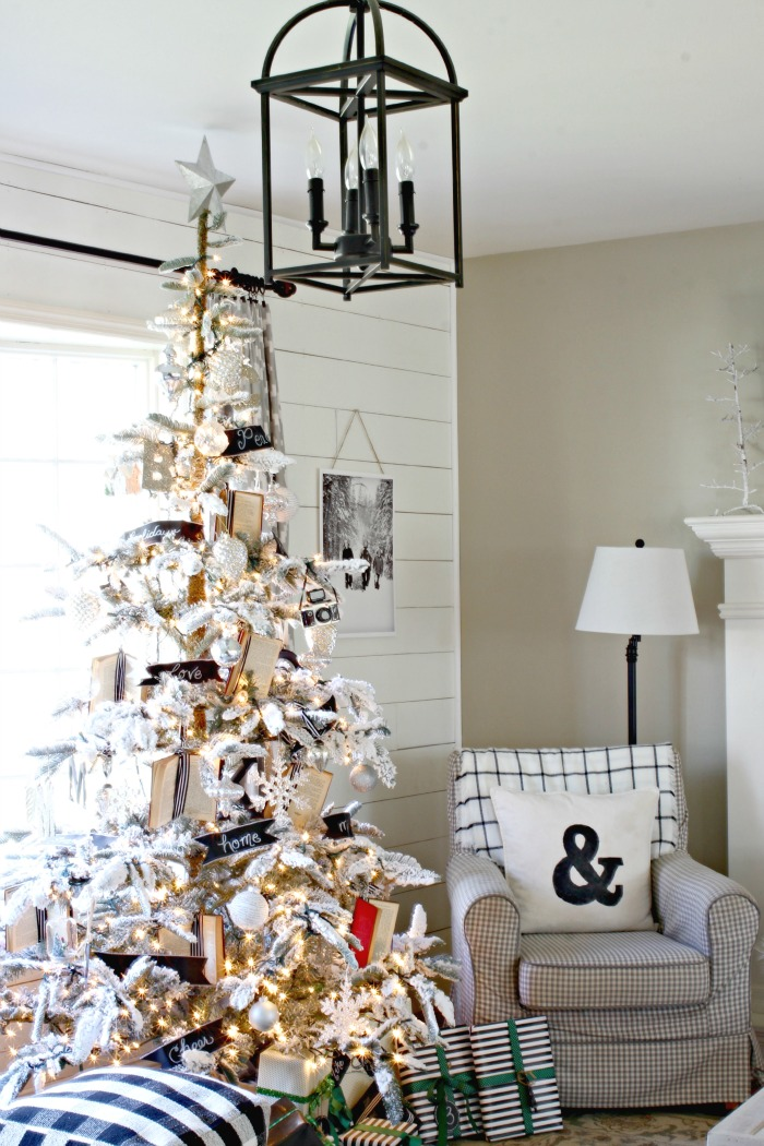 Lantern light with plank wall and flocked Christmas tree - www.goldenboysandme.com