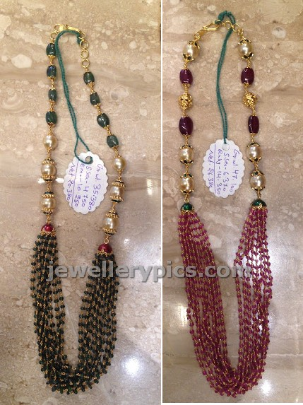 beads mala with gold and pearls