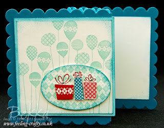Patterned Party Extended Scallop Square Card by Stampin' Up! Demonstrator Bekka Prideaux - this was a project she taught at a class - find out more about them here