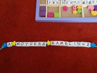 Wooden Stringing Beads spelling out A Mothers Ramblings