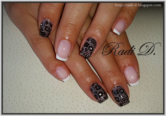 On Two Nails By Hand I Stamped Black Lace Using My Favourite Stamping Plate Born Pretty BP L020