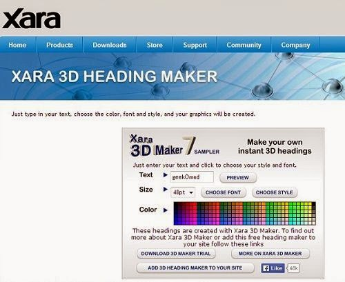 Xara Free 3D Heading Maker helps you make great logo
