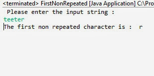 first non repeated character in the string java example