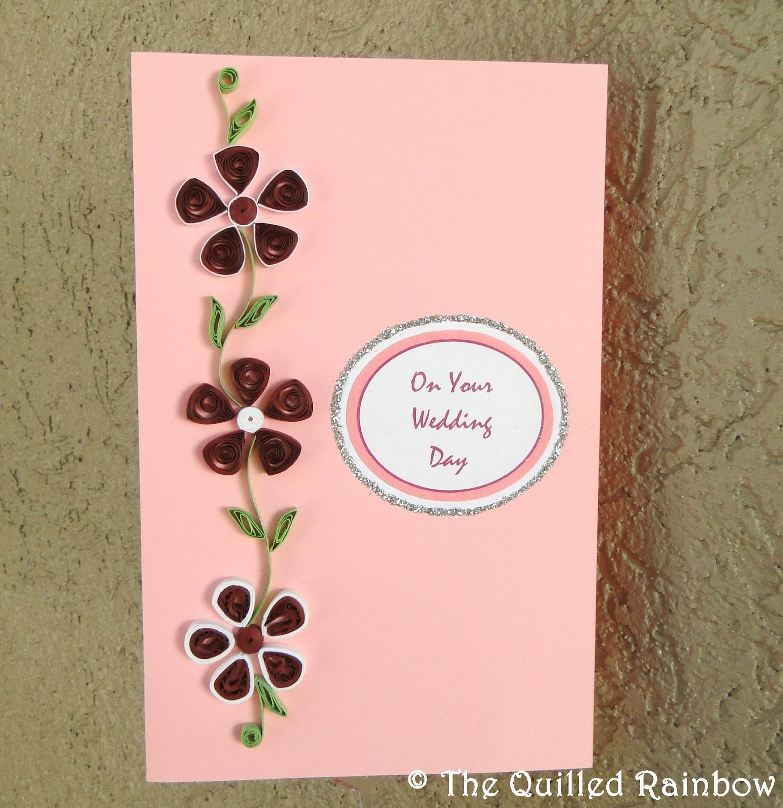 The Quilled Rainbow Wedding Card In Pink