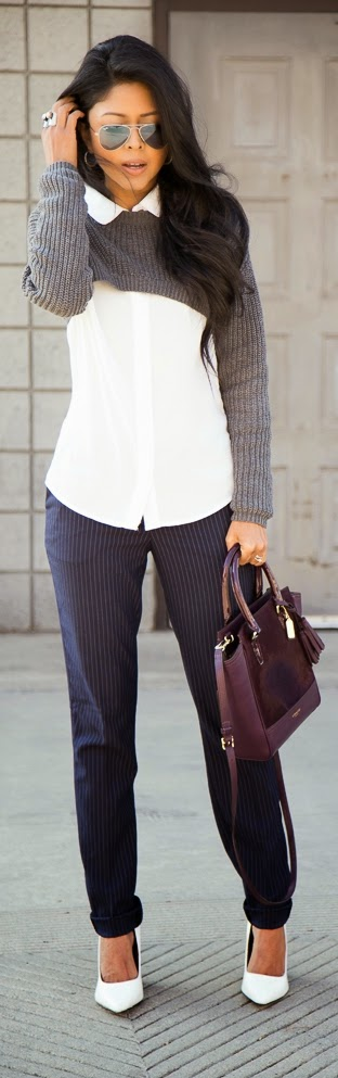 Grey Long Sleeve Crop Sweater with Pinstripes Pant | Classic Street Outfits