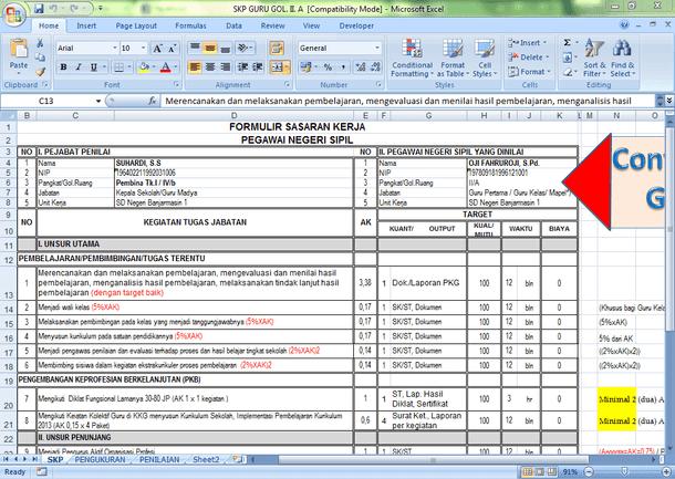 Aplikasi SKP Guru Golongan II dan Tabel Angka Kredit