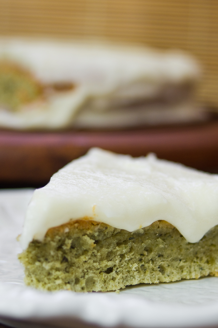 Mint cake and lemon cream cheese frosting