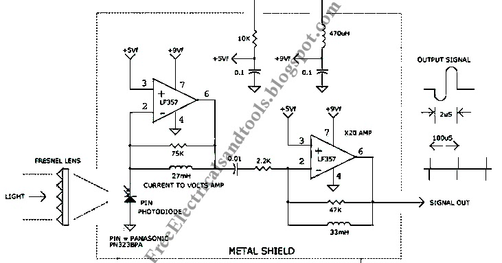 free schematic diagram  1us light pulse receiver circuit