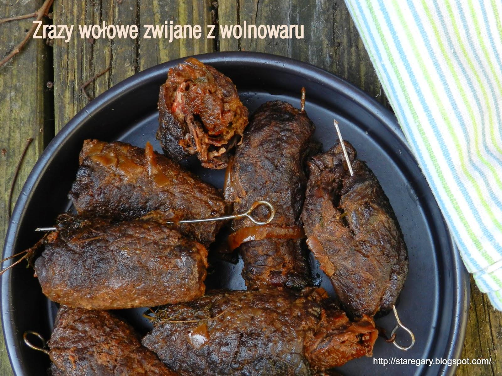 Zrazy wołowe zwijane z suszonymi pomidorami, z wolnowaru