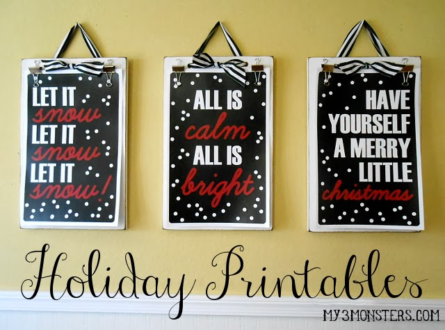 Free Holiday Printables at my3monsters.com