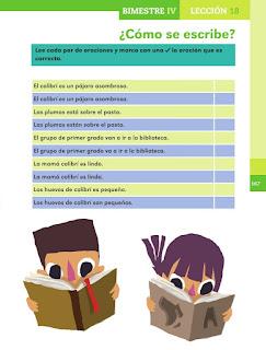 Apoyo Primaria Español 1er grado Bimestre 4 lección 18 ¿Como se escribe?