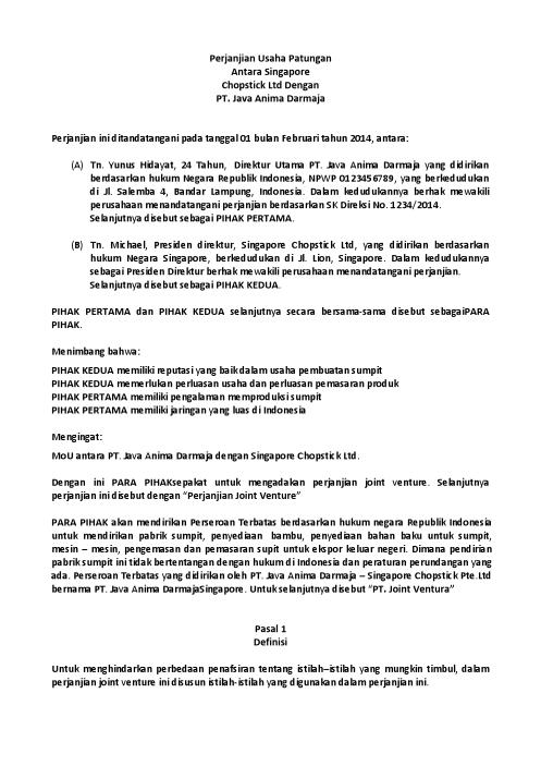 Surat Perjanjian Joint Venture atau Kerjasama Usaha Patungan