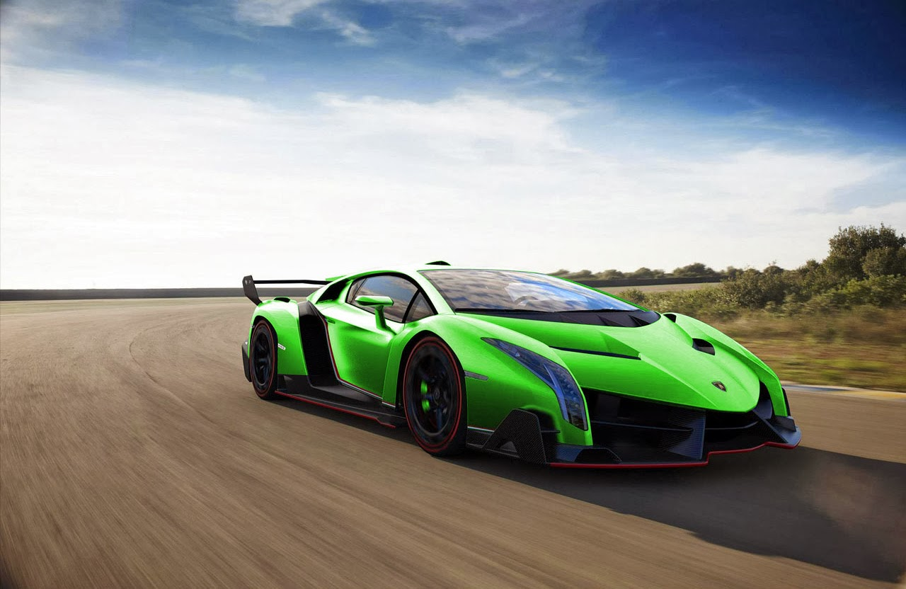 Mobil Keren Lamborghini Veneno Green On The Road