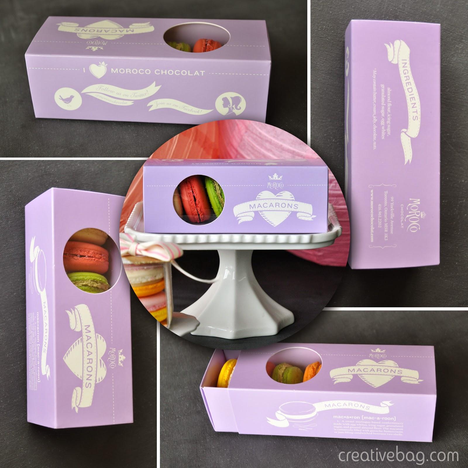 macaron packaging from CreativeBag.com   macarons from MoRoCocholate.com