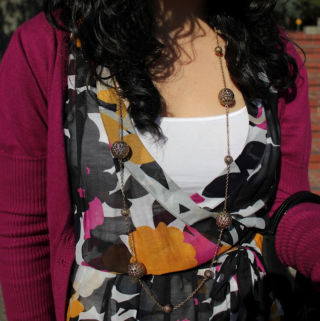 Floral Wrap Top and Gold Necklace