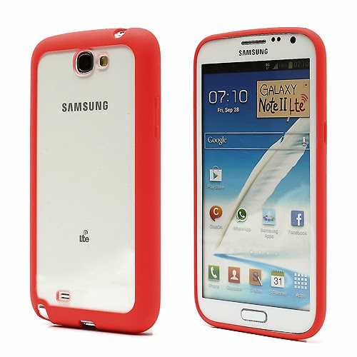 Hybrid Case : TPU Edges and Transparant Back Case Samsung Galaxy Note 2 / II N7100 - Red