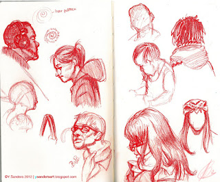 Sketches of people on the train