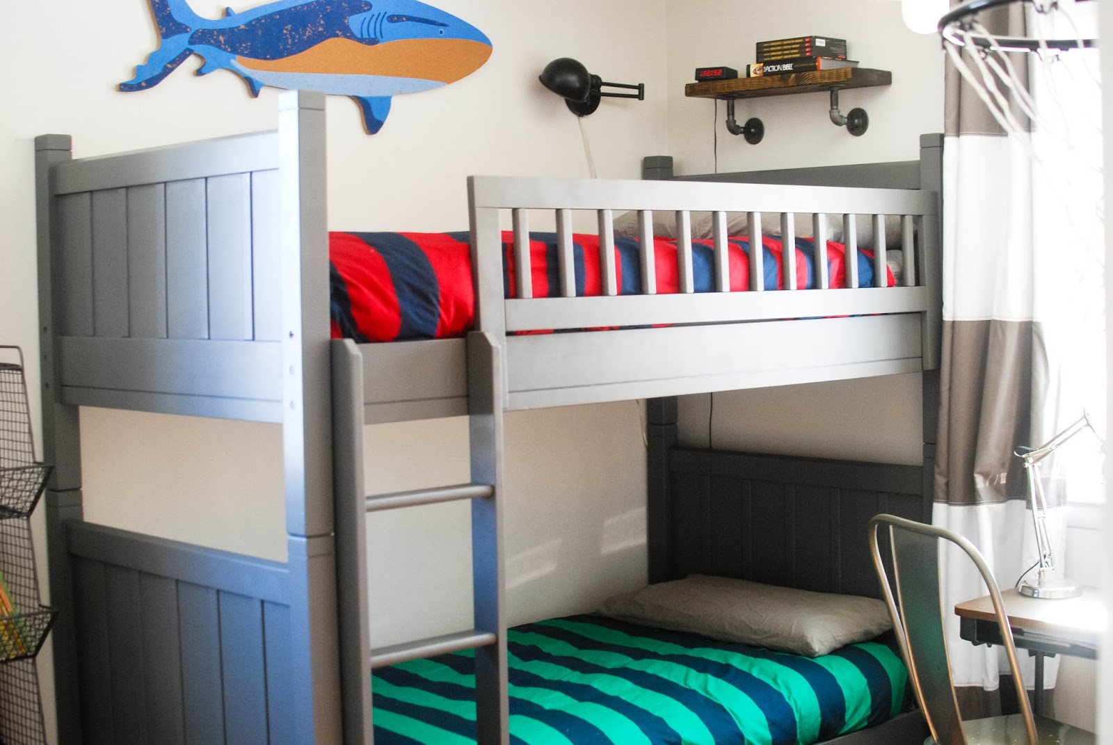 Trend Previously their bunk beds were navy blue but I wanted them to be a moody gray so I bit the bullet and spent a weekend painting them