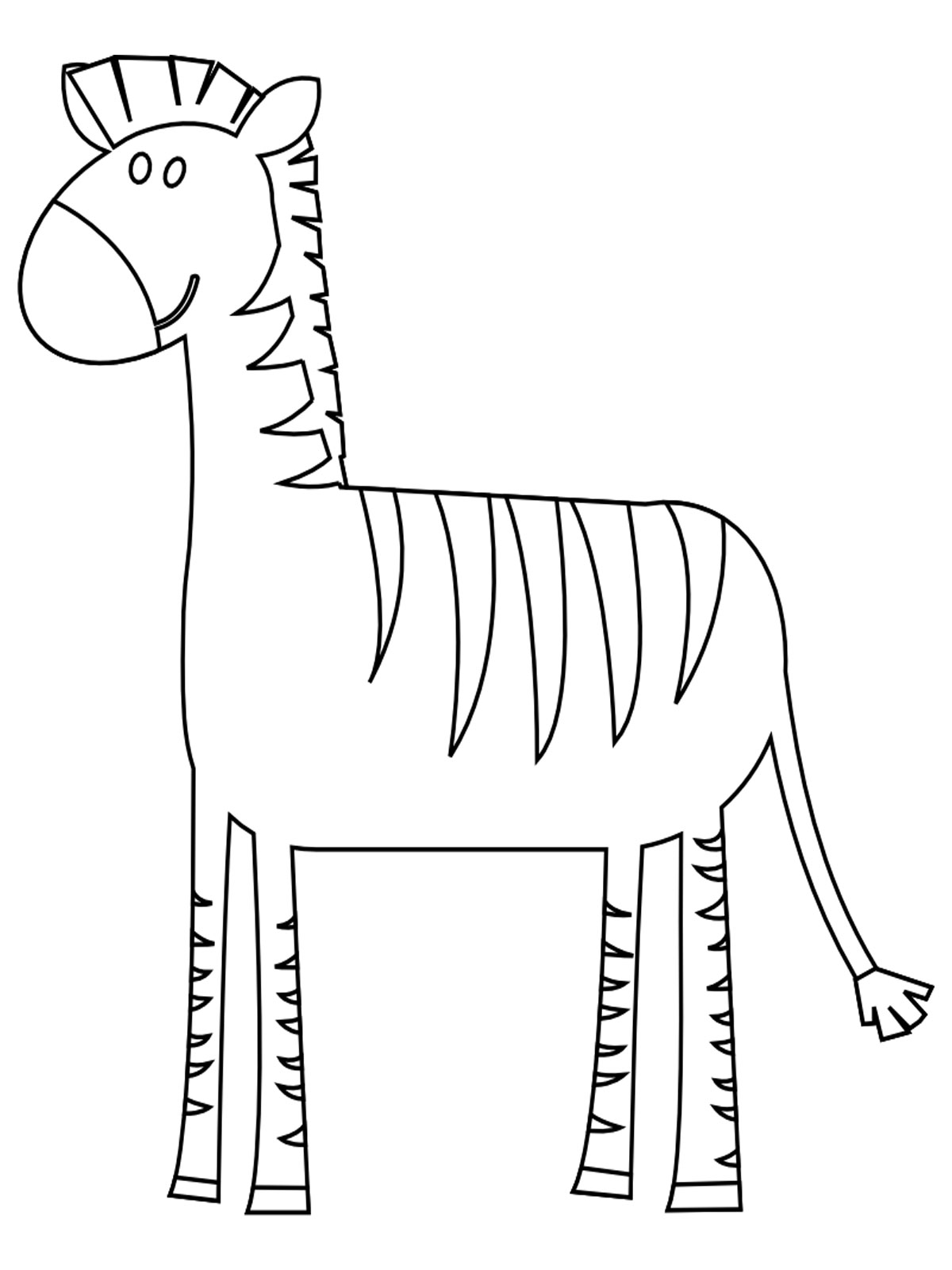 Free coloring pages of outline of zebra for Zebra without stripes coloring page