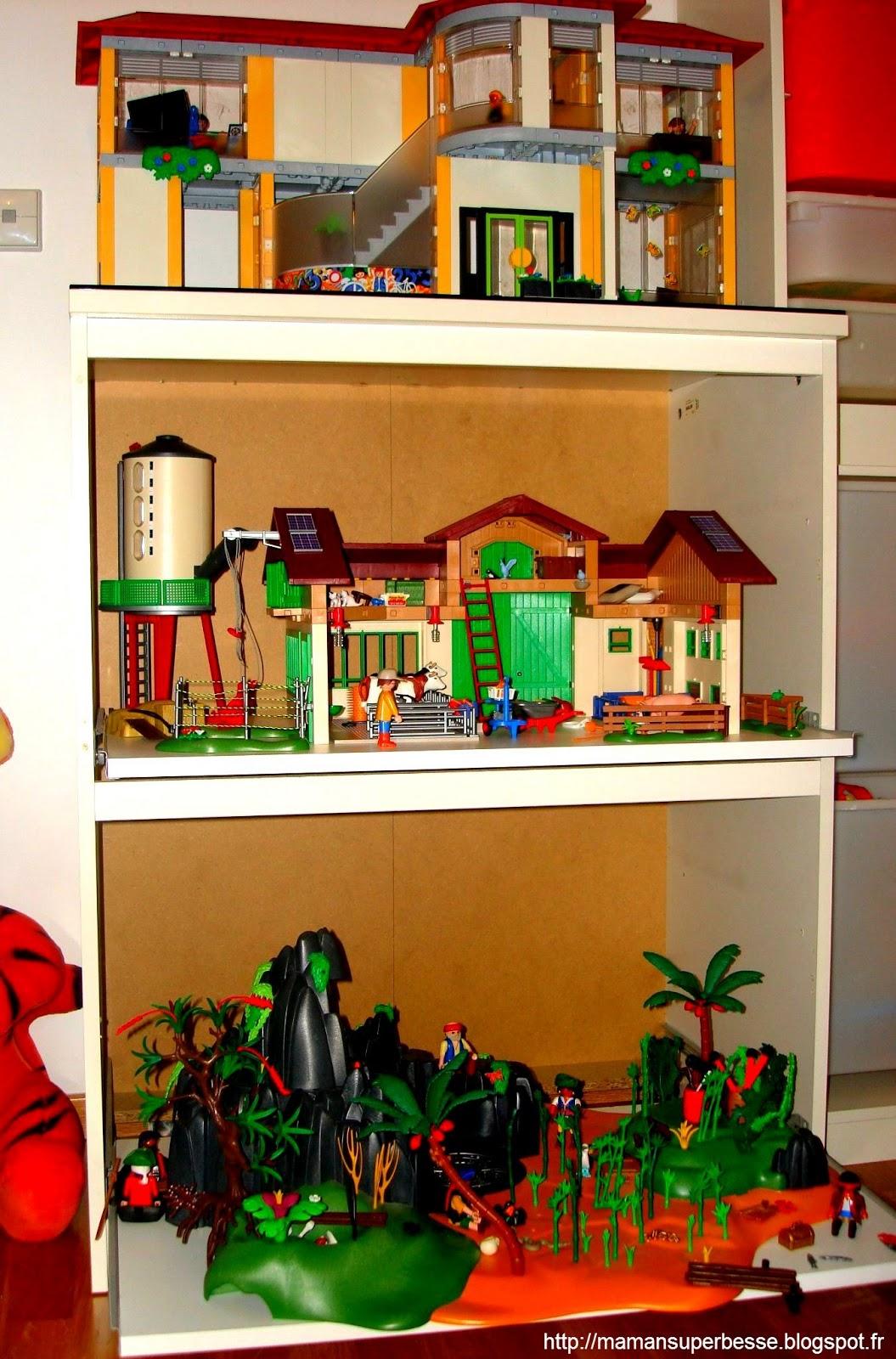 meuble playmobil organisation pr t jouer y 39 a maman la maison. Black Bedroom Furniture Sets. Home Design Ideas