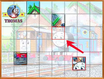 Free online Thomas the train games for kids match equivalent puzzle square parts on the crisscross
