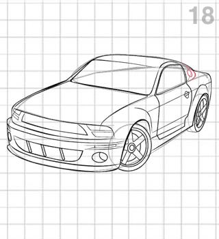 как нарисовать ford мустанг