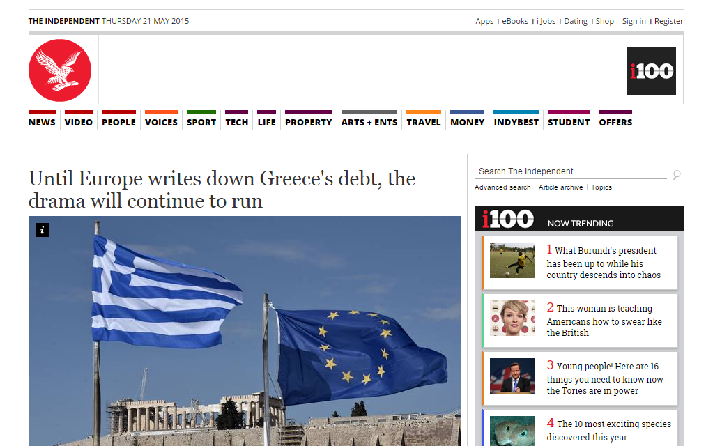 Independent: Η Ευρώπη πρέπει να διαγράψει το ελληνικό χρέος για να τελειώσει το δράμα της Ελλάδας