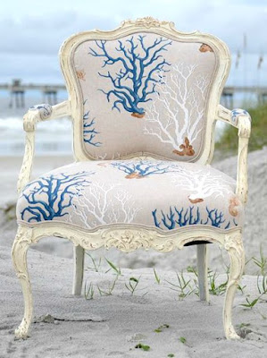 Coral Fabric Upholstered French Chair