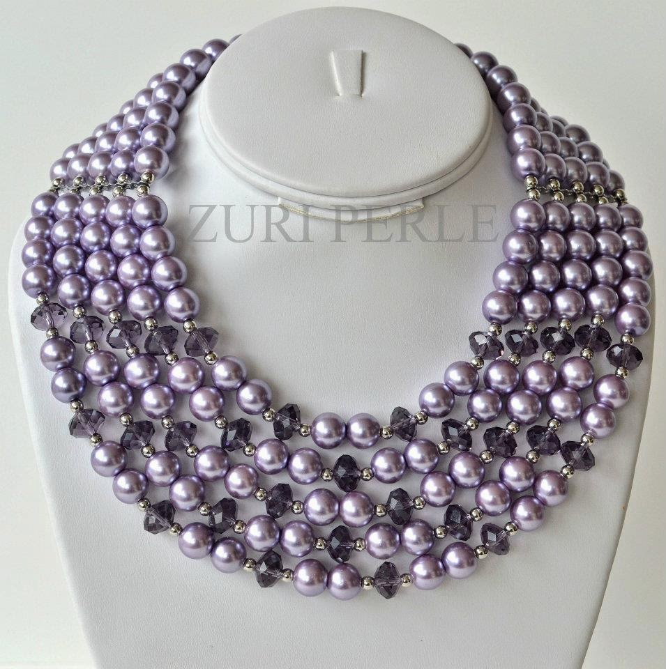 Lilac pearls purple chinese crystal beads Zuri Perle Necklace Earrings Bracelet
