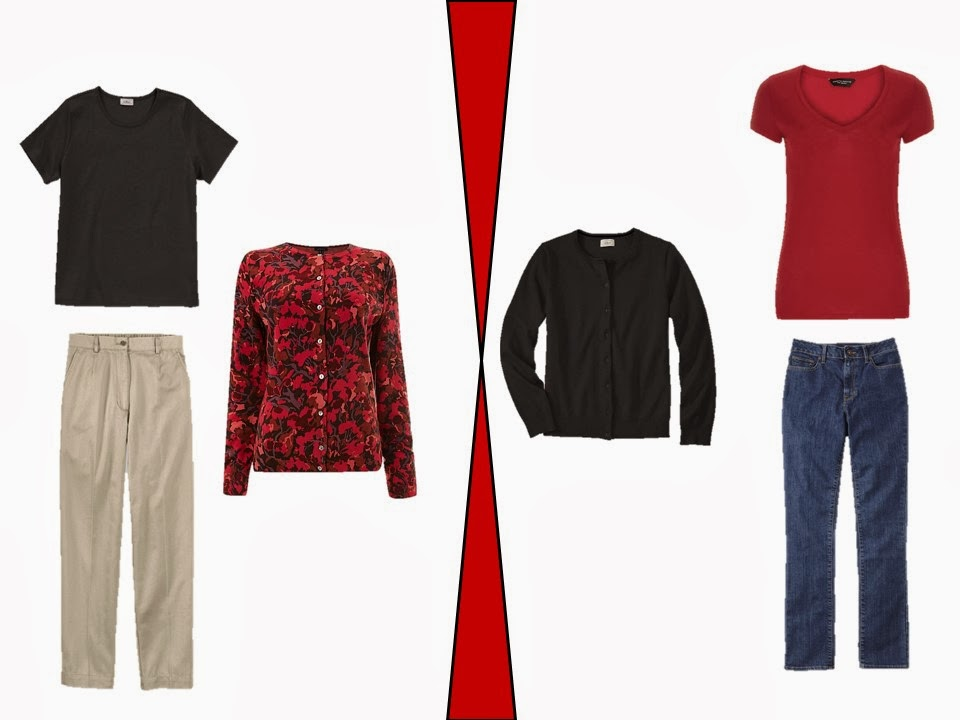 two outfits that incorporate ornamented red garments into a neutral wardrobe
