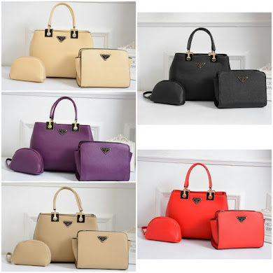 PRADA BAG ( 3 in 1 Set ) - KHAKI , PURPLE , BEIGE , RED , BLACK