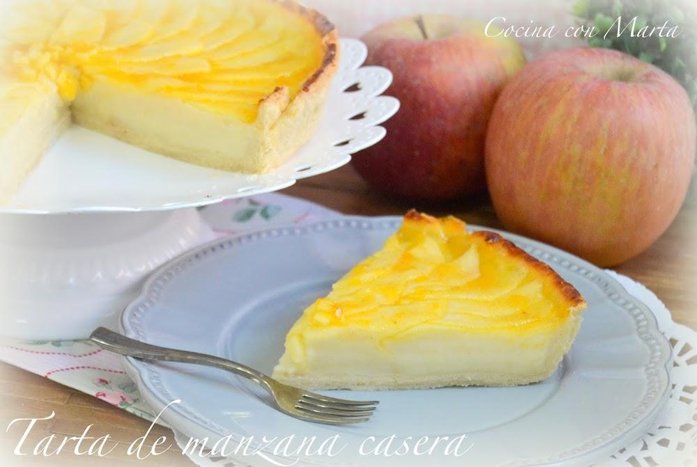 Receta de tarta de manzana casera y tradicional, rápida y fácil de hacer.