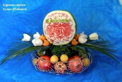 корзина с фруктами и цветами карвинг сахалин