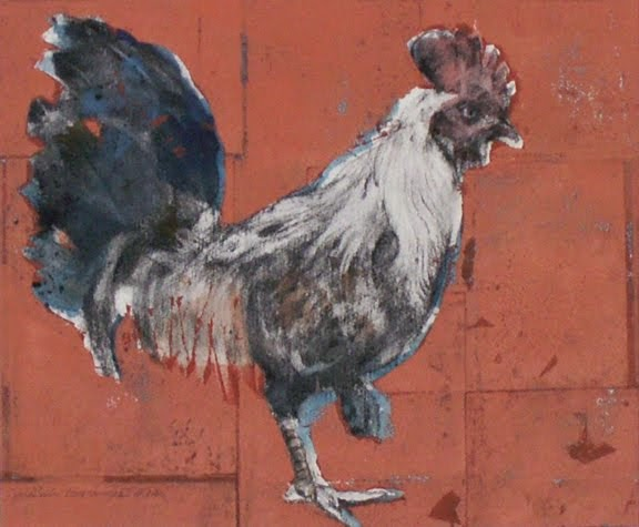 Rooster (on Orange Ground)