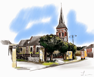 paint drawing croquis eglise