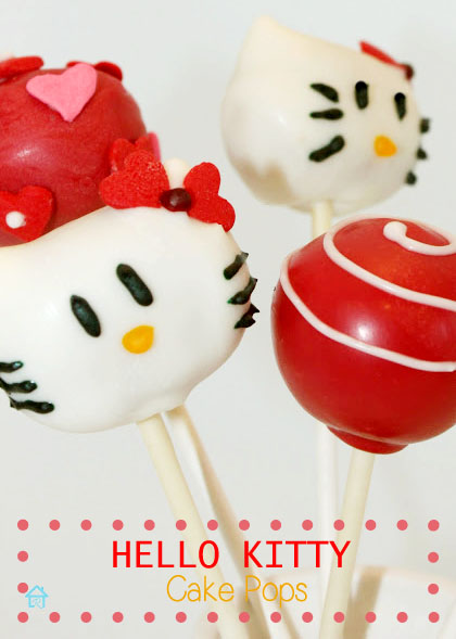 Hello Kitty, red and white cake pops, tutorial with video