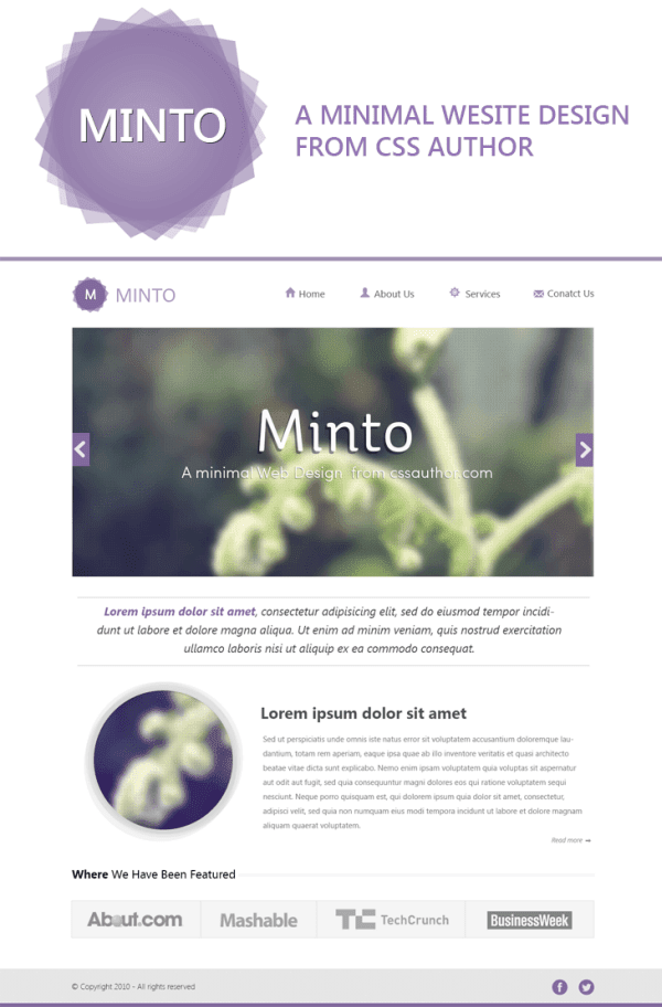 Minto Website Design Template PSD