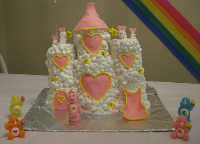 Care Bear Cloud Castle Cake - Care Bear Candles Around Cake 2