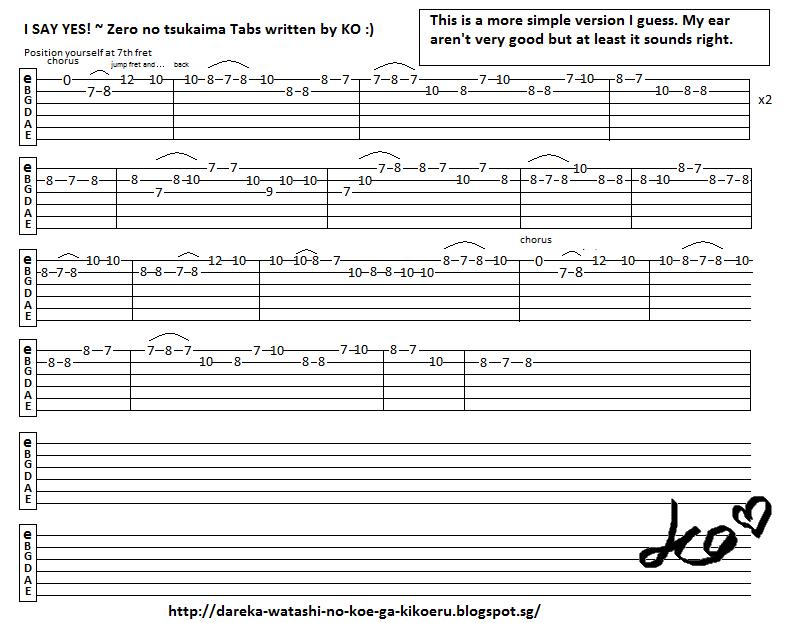Anime Guitar Tabs: Tabs for Zero no Tsukaima - I SAY YES
