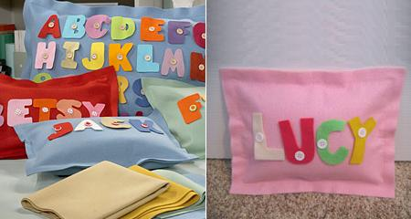 Felt cushions decorated with colorful letters