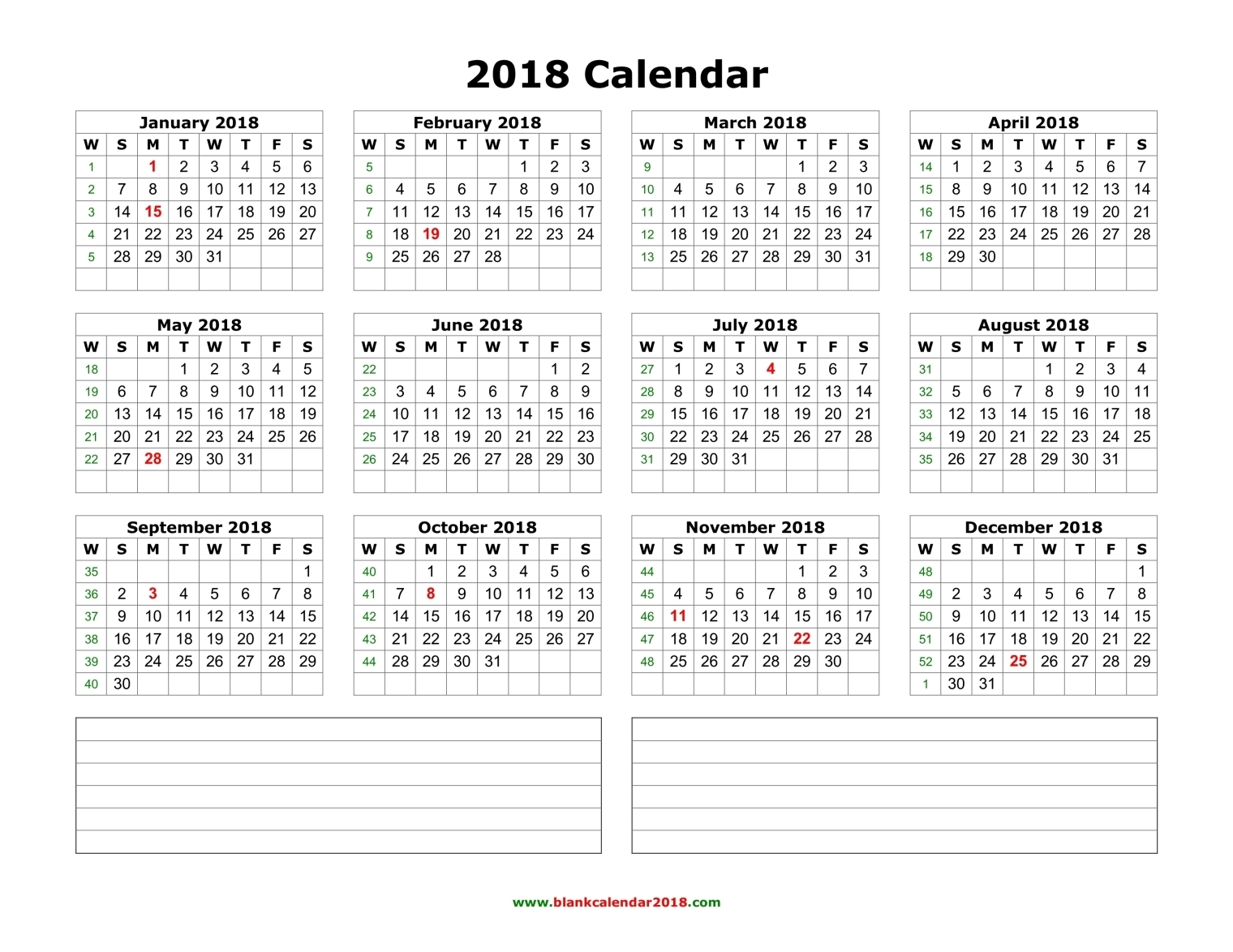 Year Calendar With Notes : Yearly calendar templates pdf word excel get