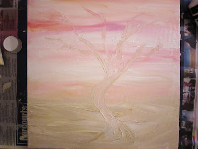 tree art, pink and white, wall art, tree painting, new zealand interior design blog, home decor, kiwi, painting on canvas, DIY wall art