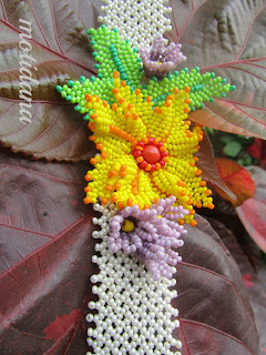 Sunburst in Spring , beaded flower ,bead netting