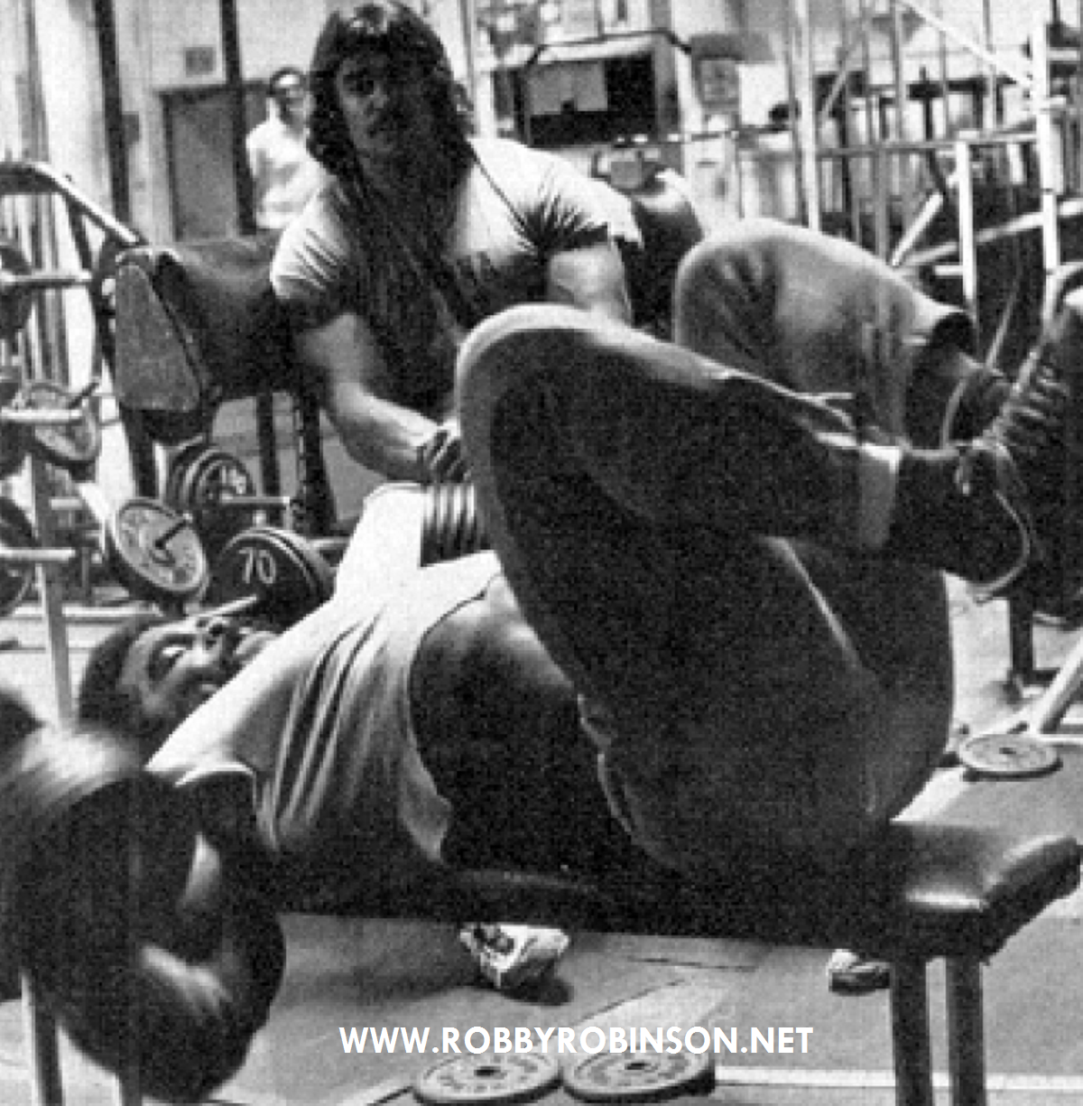 Robby Robinson and Denny Gable - flat bench dumbbel flyes ● www.robbyrobinson.net//anabolic-pack.php ●