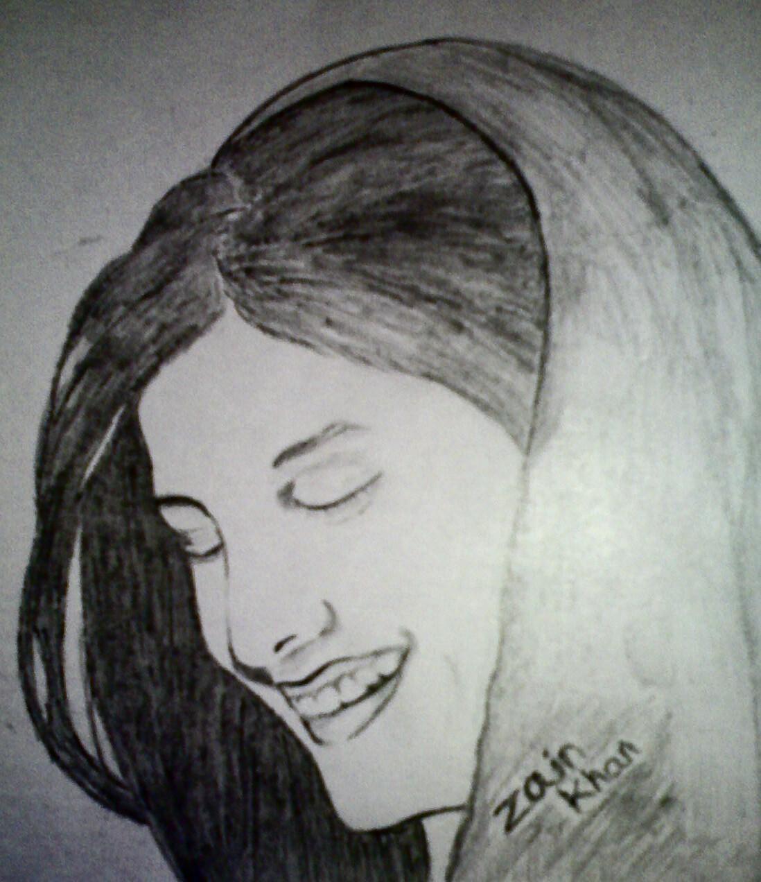 Smiling girl sketch