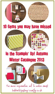 10 Gems you may have missed in the new Autumn Winter Catalogue from Stampin' Up! Contact bekka@feeling-crafty.co.uk for more informaiton