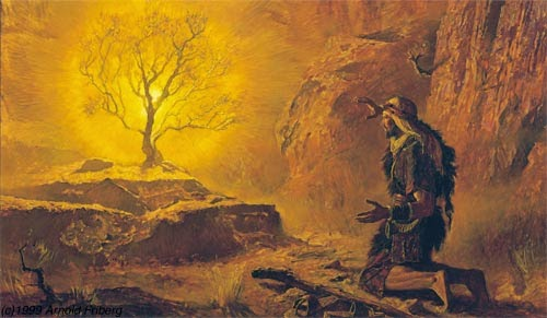 Moses and the burning bush - Artist unknown